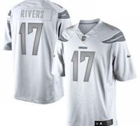 New San Diego Chargers #17 Philip Rivers White Platinum Jersey