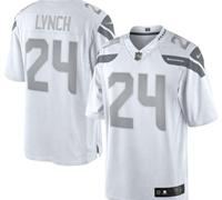 New Seattle Seahawks #24 Marshawn Lynch White Platinum Jersey