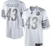 Pittsburgh Steelers #43 Troy Polamalu White Platinum Jersey