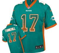 Youth NEW Dolphins #17 Ryan Tannehill Aqua Green NFL Elite Drift Fashion Jersey