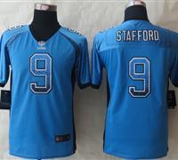 Youth 2014 New Detroit Lions 9 Stafford Drift Fashion Blue Elite Jerseys