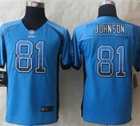 Youth 2014 New Detroit Lions 81 Johnson Drift Fashion Blue Elite Jerseys