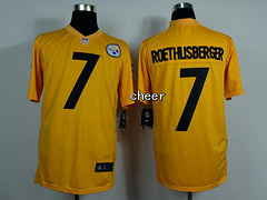 NFL NIke game Jersey Pittsburgh Steelers #7 roethlisberger yellow Jersey