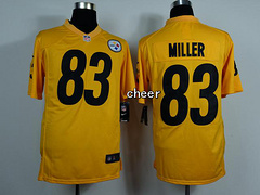 NFL NIke game Jersey Pittsburgh Steelers #83 Miller yellow Jersey