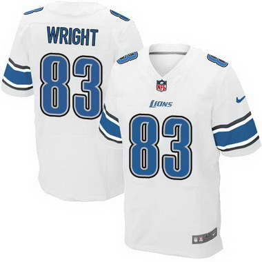 Men's Detroit Lions #83 Tim Wright White Road NFL Nike Elite Jersey