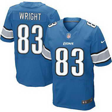 Men's Detroit Lions #83 Tim Wright Light Blue Team Color NFL Nike Elite Jersey