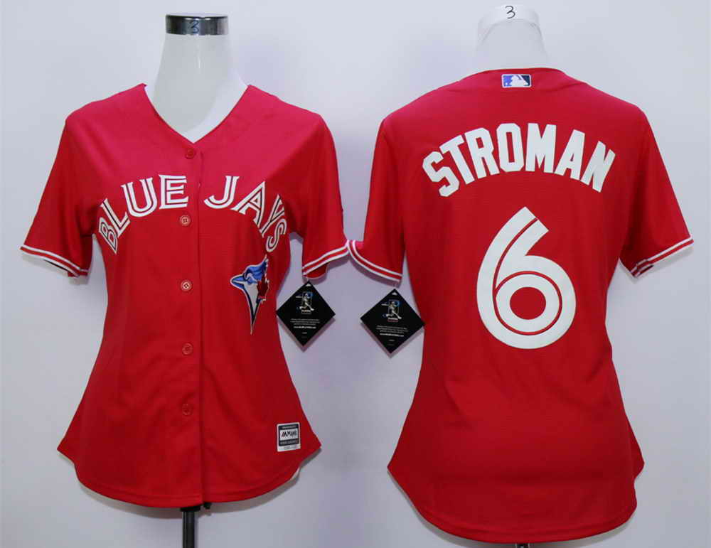 Blue Jays 6 Marcus Stroman Red Women New Cool Base Jersey