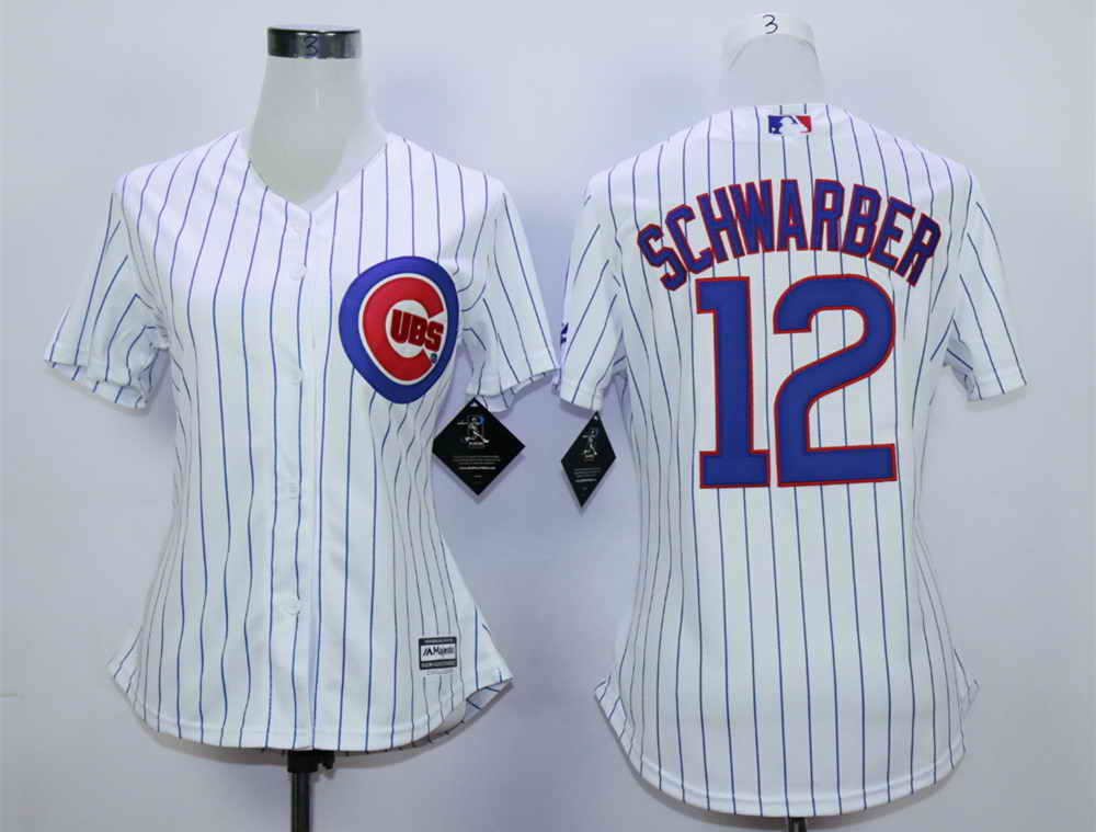 Cubs 12 Kyle Schwarber White Women New Cool Base Jersey