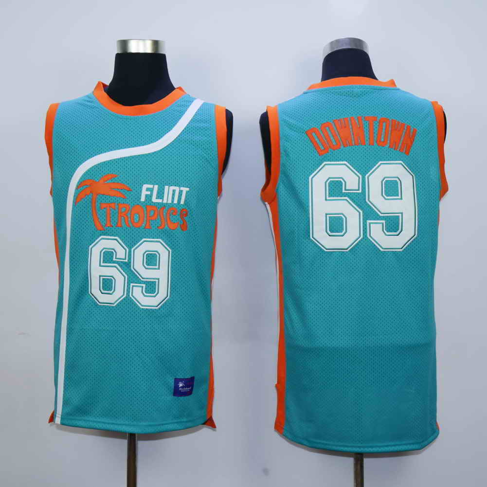 Flint Tropics 69 Downtown Teal Semi Pro Movie Stitched Basketball Jersey