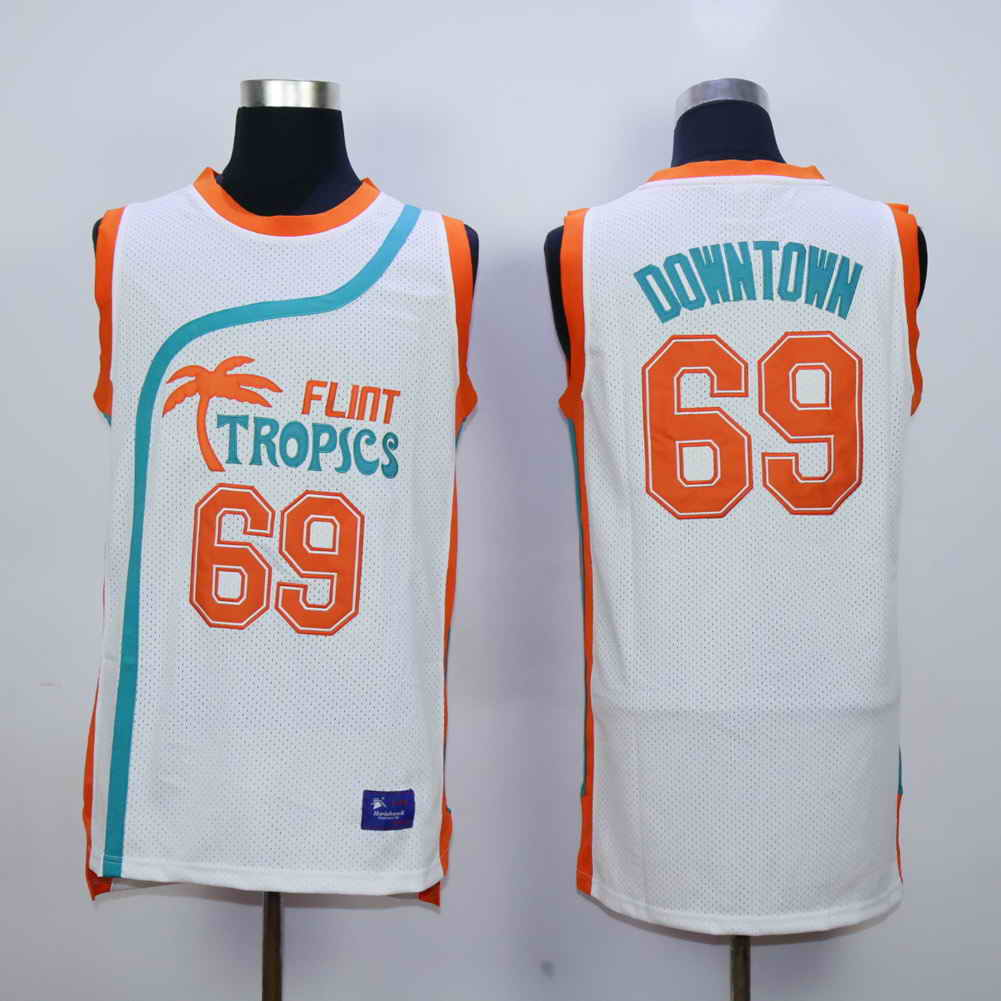 Flint Tropics 69 Downtown White Semi Pro Movie Stitched Basketball Jersey