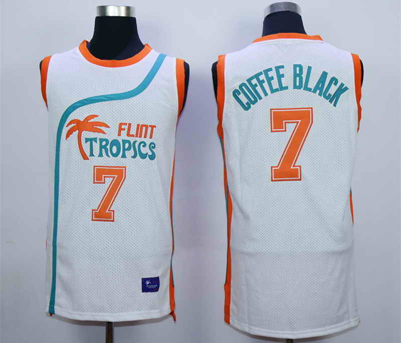 Flint Tropics 7 Coffe Black White Semi Pro Movie Stitched Basketball Jersey