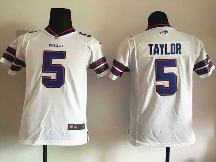 Nike Bills 5 Tyrod Taylor White Youth Game Jersey