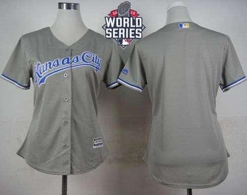 Royals Blank Grey Road 2015 World Series Patch Women's Stitched MLB Jersey