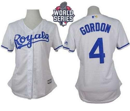 Royals #4 Alex Gordon White Home 2015 World Series Patch Women's Stitched MLB Jersey