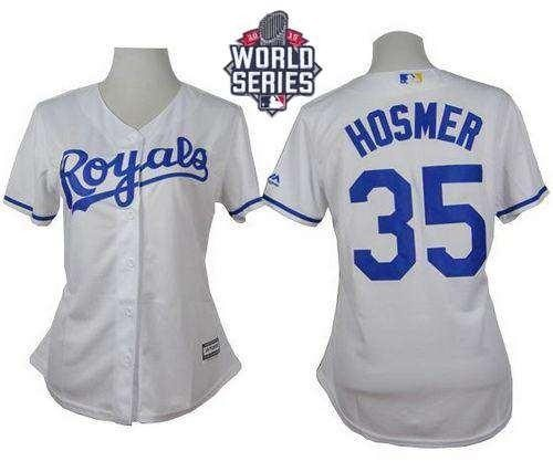 Royals #35 Eric Hosmer White Home 2015 World Series Patch Women's Stitched MLB Jersey