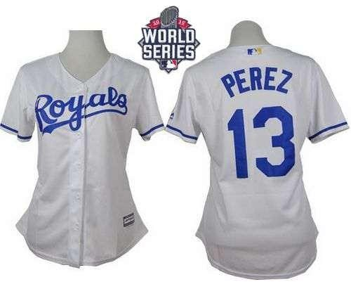 Royals #13 Salvador Perez White Home 2015 World Series Patch Women's Stitched MLB Jersey