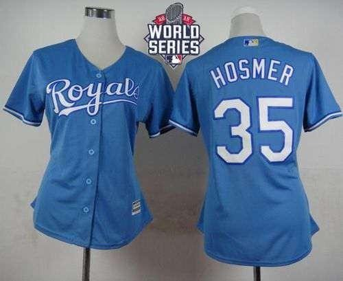 Royals #35 Eric Hosmer Light Blue Alternate 2015 World Series Patch Women's Stitched MLB Jersey