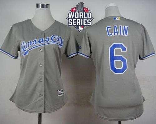 Royals #6 Lorenzo Cain Grey Road 2015 World Series Patch Women's Stitched MLB Jersey
