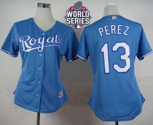 Royals #13 Salvador Perez Light Blue Alternate 2015 World Series Patch Women's Stitched MLB Jersey