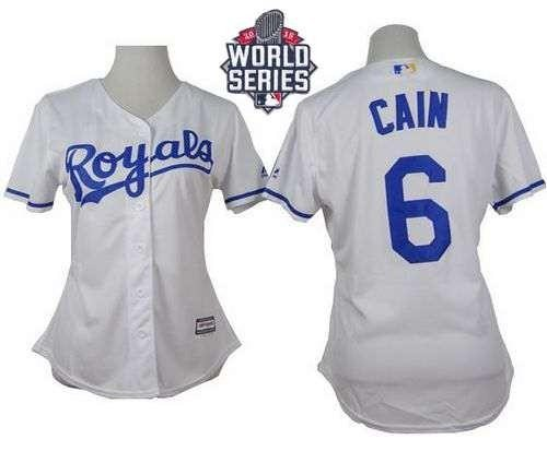 Royals #6 Lorenzo Cain White Home 2015 World Series Patch Women's Stitched MLB Jersey