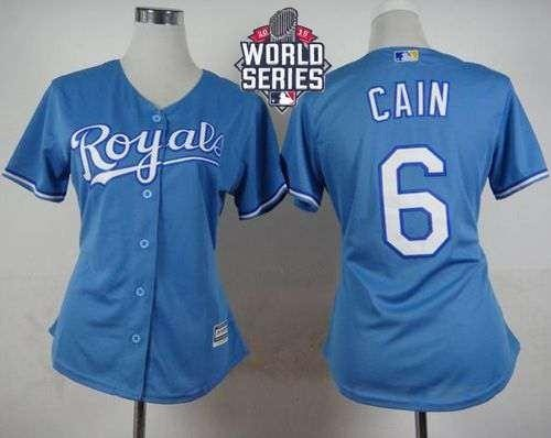 Royals #6 Lorenzo Cain Light Blue Alternate 2015 World Series Patch Women's Stitched MLB Jersey