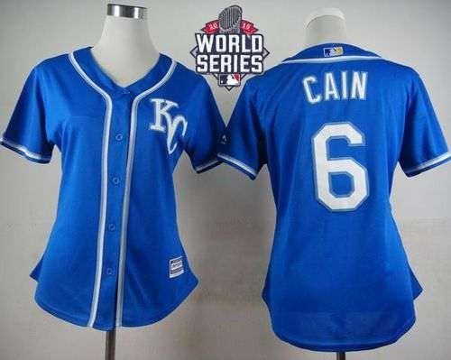 Royals #6 Lorenzo Cain Blue Alternate 2015 World Series Patch Women's Stitched MLB Jersey