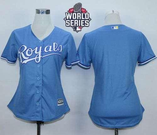 Royals Blank Light Blue Alternate 2015 World Series Patch Women's Stitched MLB Jersey