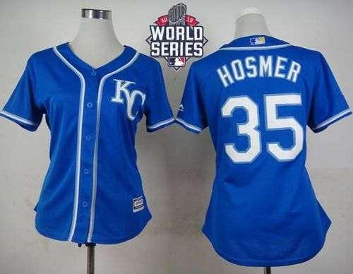 Royals #35 Eric Hosmer Blue Alternate 2015 World Series Patch Women's Stitched MLB Jersey