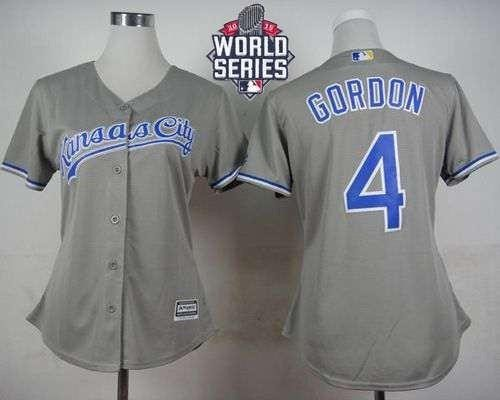 Royals #4 Alex Gordon Grey Road 2015 World Series Patch Women's Stitched MLB Jersey