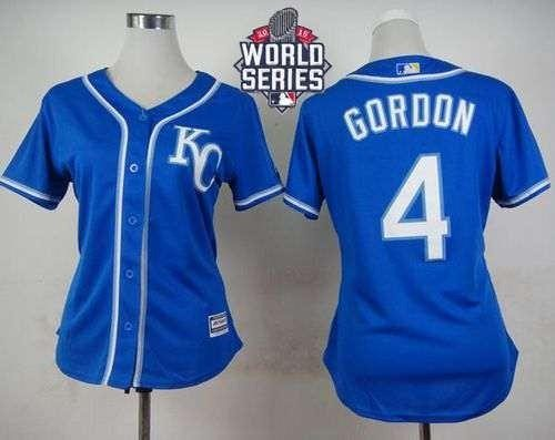 Royals #4 Alex Gordon Blue Alternate 2015 World Series Patch Women's Stitched MLB Jersey