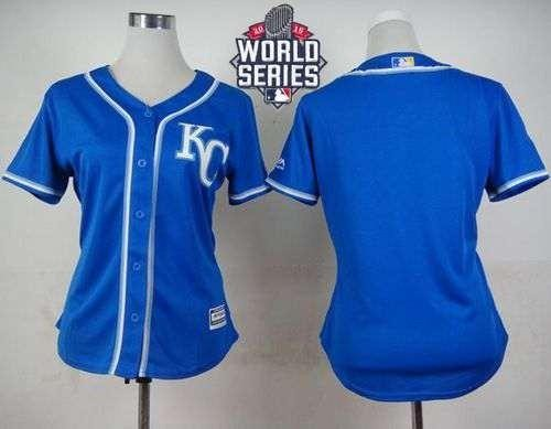 Royals Blank Blue Alternate 2015 World Series Patch Women's Stitched MLB Jersey