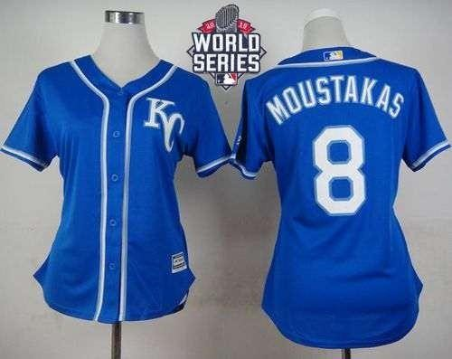 Royals #8 Mike Moustakas Blue Alternate 2015 World Series Patch Women's Stitched MLB Jersey