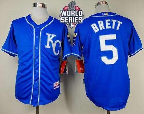 Royals #5 George Brett Light Blue Alternate 2 Cool Base 2015 World Series Patch Stitched MLB Jersey