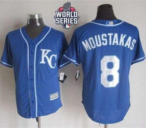 Royals #8 Mike Moustakas Blue Alternate 2 New Cool Base 2015 World Series Patch Stitched MLB Jersey