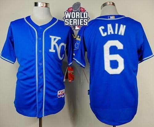 Royals #6 Lorenzo Cain Light Blue Alternate 2 Cool Base 2015 World Series Patch Stitched MLB Jersey