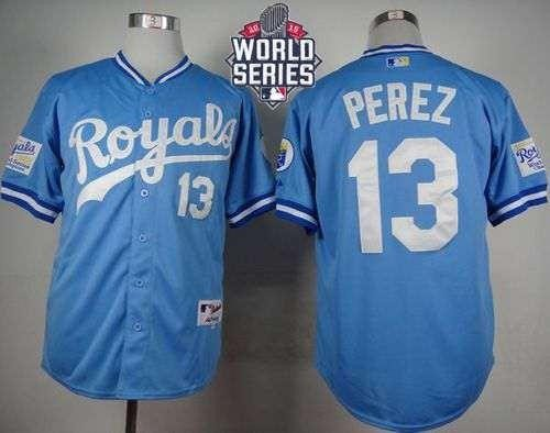 Royals #13 Salvador Perez Light Blue 1985 Turn Back The Clock 2015 World Series Patch Stitched MLB Jersey