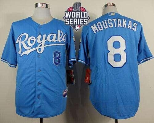 Royals #8 Mike Moustakas Light Blue Alternate 1 Cool Base 2015 World Series Patch Stitched MLB Jersey