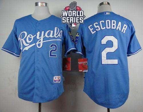 Royals #2 Alcides Escobar Light Blue Alternate 1 Cool Base 2015 World Series Patch Stitched MLB Jersey