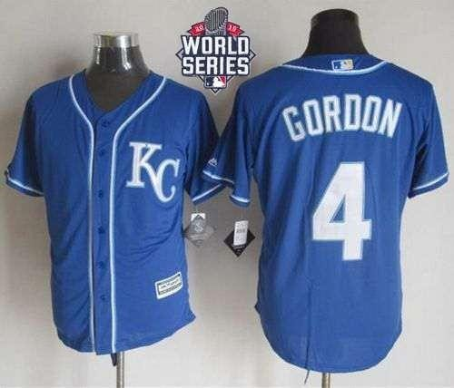 Royals #4 Alex Gordon Blue Alternate 2 New Cool Base 2015 World Series Patch Stitched MLB Jersey