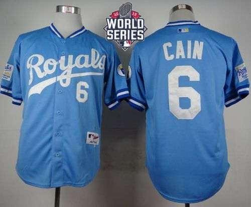 Royals #6 Lorenzo Cain Light Blue 1985 Turn Back The Clock 2015 World Series Patch Stitched MLB Jersey