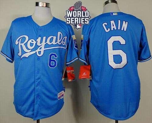 Royals #6 Lorenzo Cain Light Blue Alternate Cool Base 2015 World Series Patch Stitched MLB Jersey