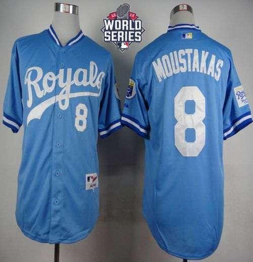 Royals #8 Mike Moustakas Light Blue 1985 Turn Back The Clock 2015 World Series Patch Stitched MLB Jersey