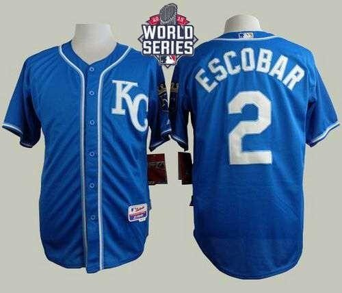 Royals #2 Alcides Escobar Blue Alternate 2 Cool Base 2015 World Series Patch Stitched MLB Jersey