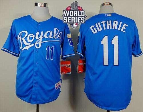 Royals #11 Jeremy Guthrie Light Blue Alternate Cool Base 2015 World Series Patch Stitched MLB Jersey