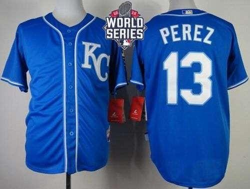 Royals #13 Salvador Perez Blue Alternate 2 Cool Base 2015 World Series Patch Stitched MLB Jersey