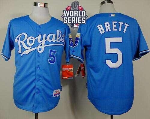 Royals #5 George Brett Light Blue Alternate Cool Base 2015 World Series Patch Stitched MLB Jersey