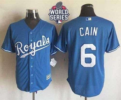 Royals #6 Lorenzo Cain Light Blue Alternate 1 New Cool Base 2015 World Series Patch Stitched MLB Jersey
