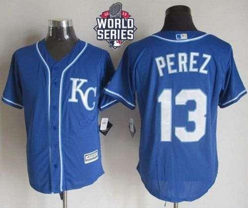 Royals #13 Salvador Perez Blue Alternate 2 New Cool Base 2015 World Series Patch Stitched MLB Jersey