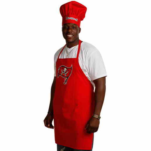 Buccanners Red Team Chef Hat And Apron Set
