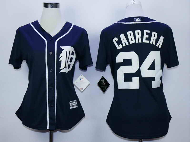 Tigers 24 Miguel Cabrera Blue Women New Cool Base Jersey